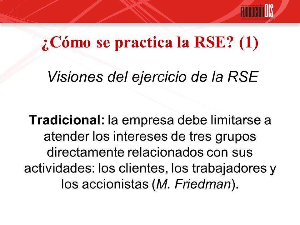 ¿Cómo se practica la RSE? (1) Visiones del ejercicio de la RSE Tradicional: la empresa debe limitarse a atender los intereses de tres grupos directame