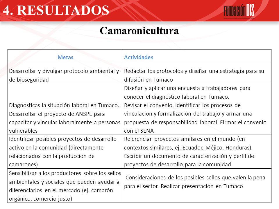 4. RESULTADOS Camaronicultura MetasActividades Desarrollar y divulgar protocolo ambiental y de bioseguridad Redactar los protocolos y diseñar una estr
