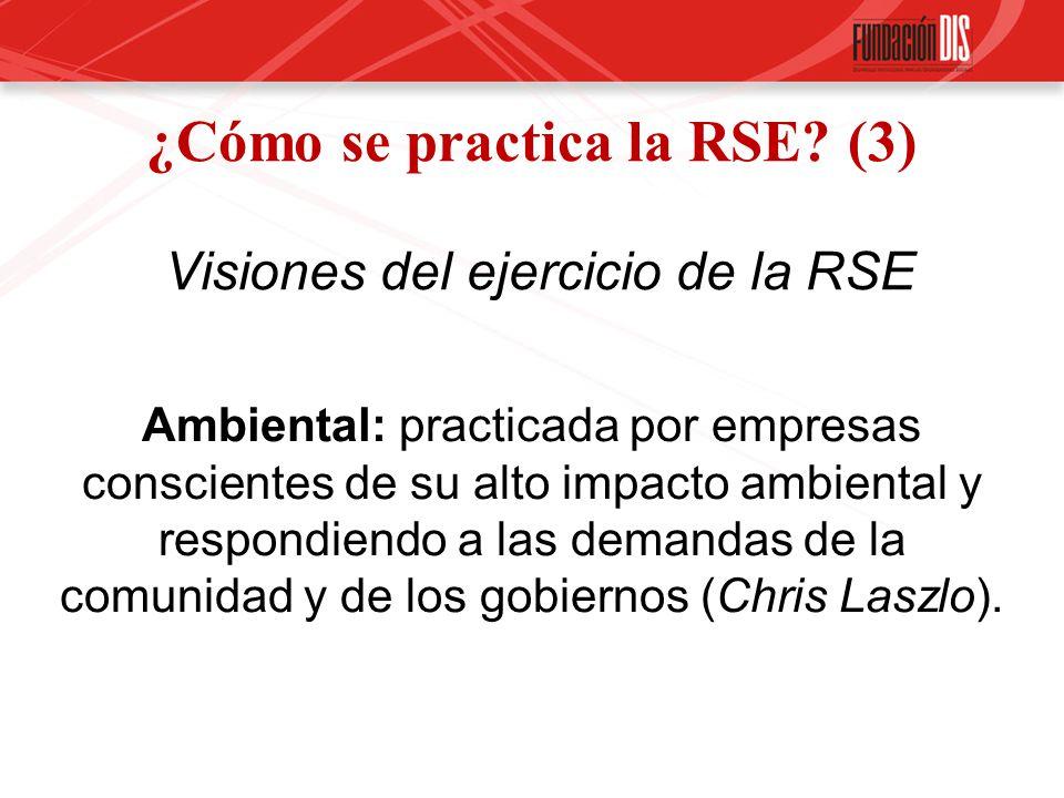 ¿Cómo se practica la RSE? (3) Visiones del ejercicio de la RSE Ambiental: practicada por empresas conscientes de su alto impacto ambiental y respondie
