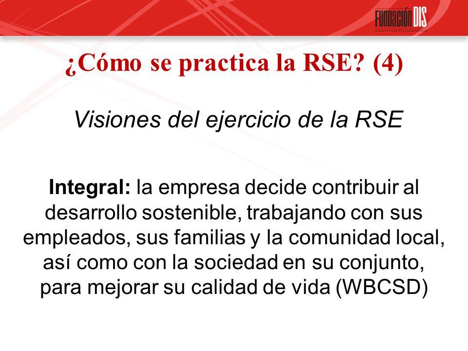 ¿Cómo se practica la RSE? (4) Visiones del ejercicio de la RSE Integral: la empresa decide contribuir al desarrollo sostenible, trabajando con sus emp