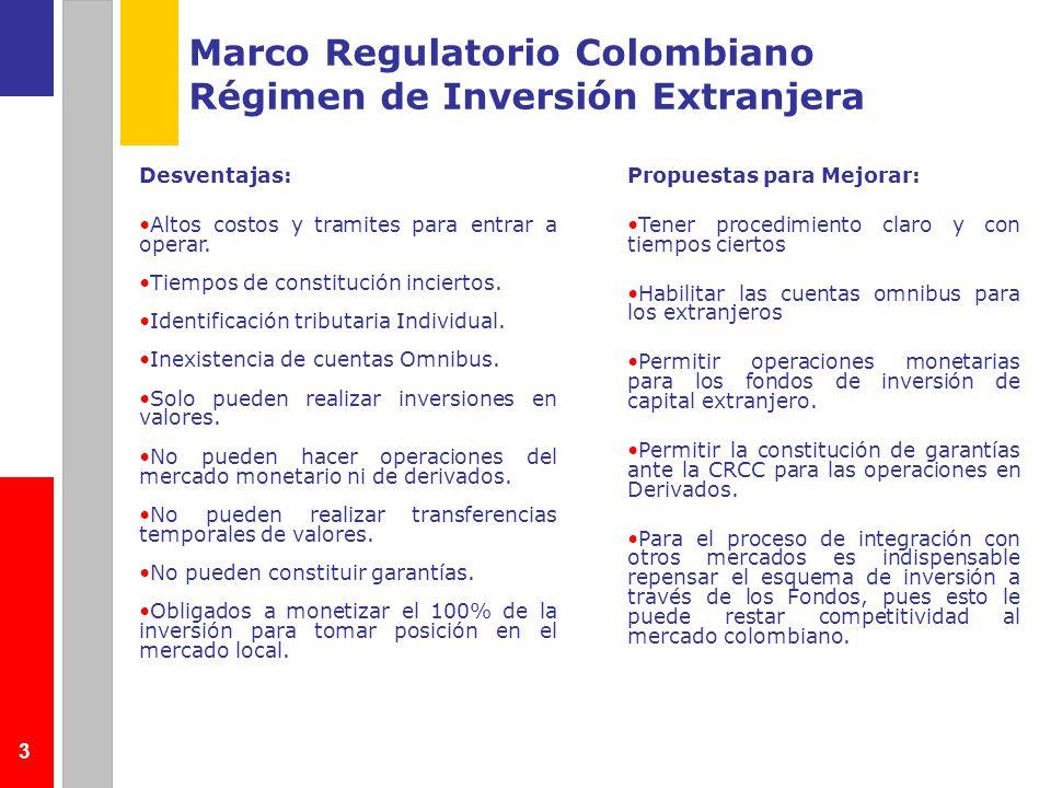 4 Marco Regulatorio Colombiano Temas asociados a emisores Desventajas: Receptor de la inversión es responsable solidariamente con el cumplimiento de las obligaciones cambiarias del inversionista No hay normas previstas para la negociación de valores del exterior sin emisión primaria en Colombia (y no en renta variable) Inscripción plena del emisor Registro de valores del exterior admisibles para ser negociados localmente (Ley 964/2005) El inversionista colombiano debe cumplir con la obligación de registro de la inversión en el exterior ante las autoridades cambiarias a pesar de adquirir el activo localmente No hay reconocimiento de otros mercados como admisibles y por tanto de inscripción automática Propuestas para Mejorar: Eliminar solidaridad de los Emisores listados.