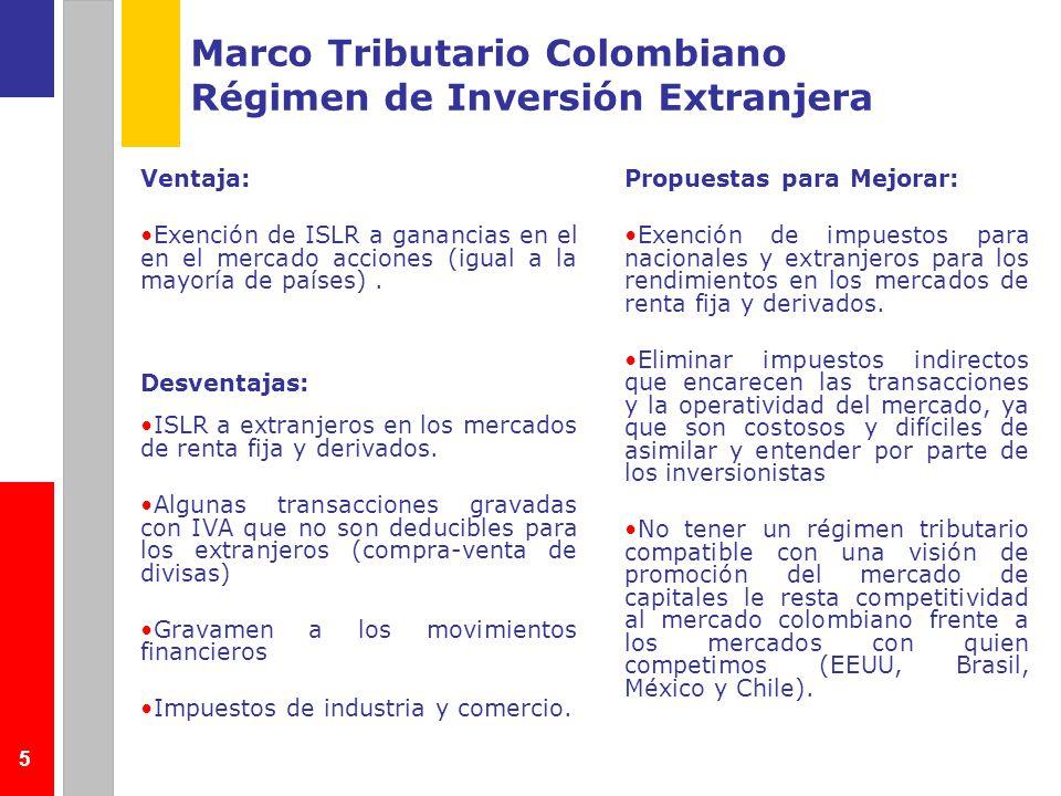 5 Marco Tributario Colombiano Régimen de Inversión Extranjera Ventaja: Exención de ISLR a ganancias en el en el mercado acciones (igual a la mayoría d