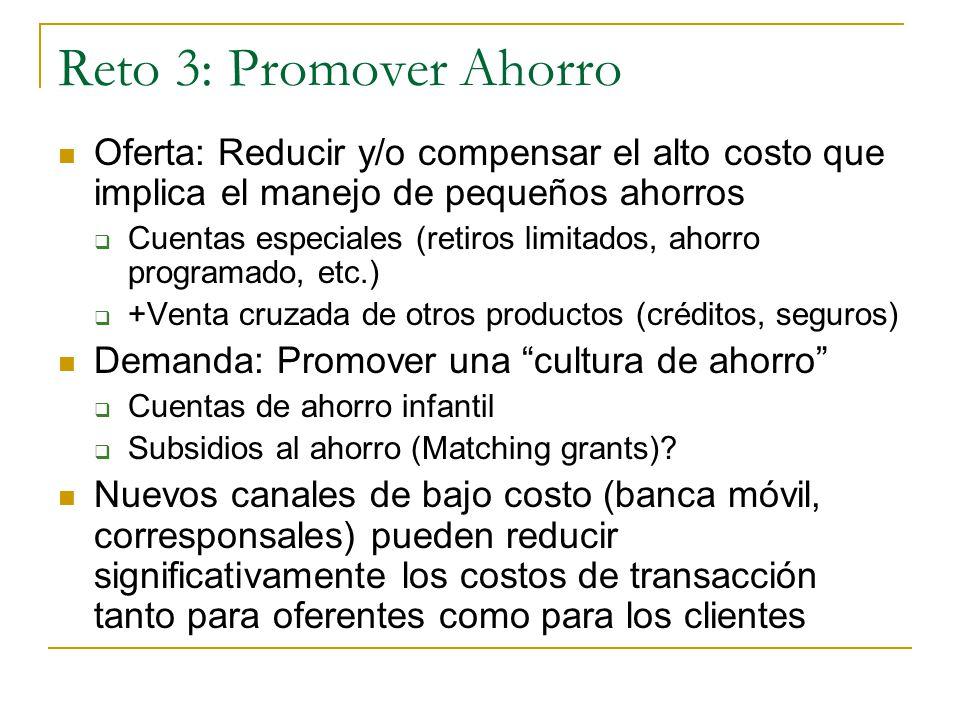 Reto 3: Promover Ahorro Oferta: Reducir y/o compensar el alto costo que implica el manejo de pequeños ahorros Cuentas especiales (retiros limitados, ahorro programado, etc.) +Venta cruzada de otros productos (créditos, seguros) Demanda: Promover una cultura de ahorro Cuentas de ahorro infantil Subsidios al ahorro (Matching grants).