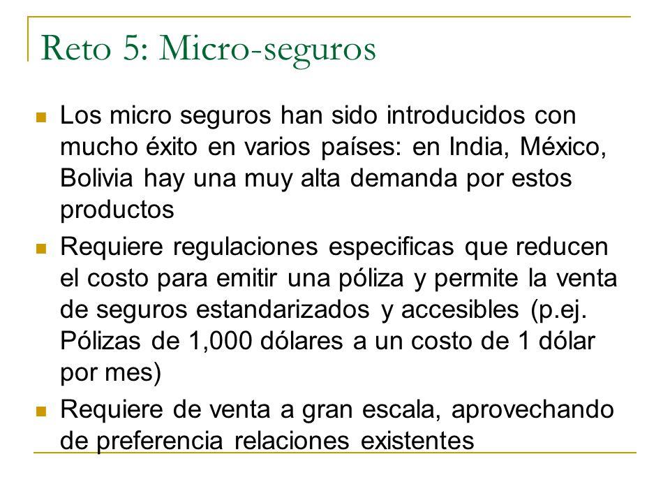 Reto 5: Micro-seguros Los micro seguros han sido introducidos con mucho éxito en varios países: en India, México, Bolivia hay una muy alta demanda por estos productos Requiere regulaciones especificas que reducen el costo para emitir una póliza y permite la venta de seguros estandarizados y accesibles (p.ej.