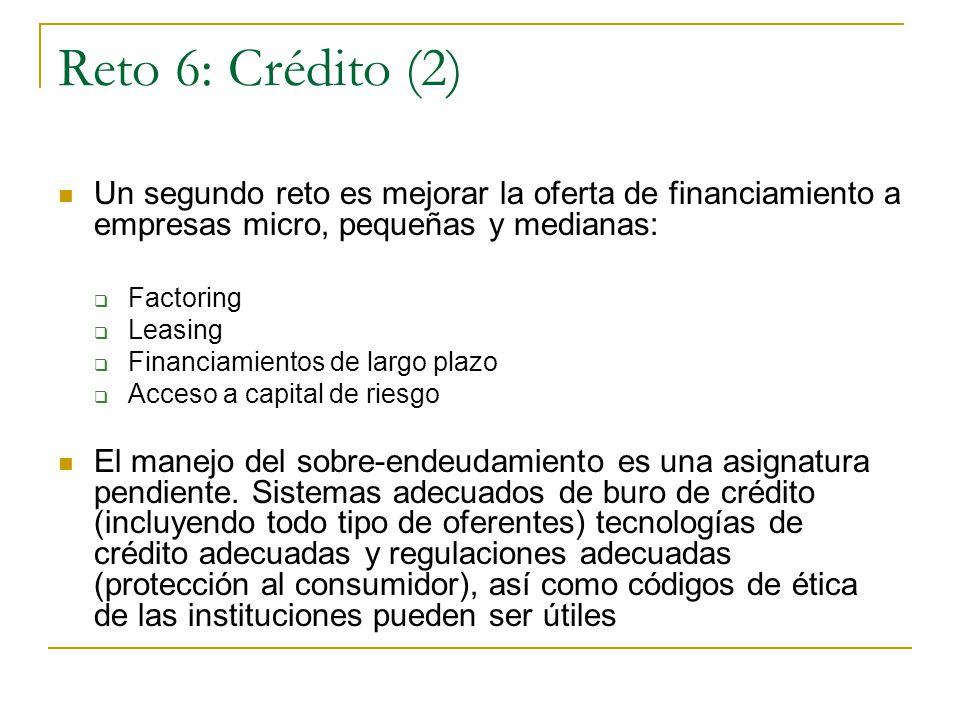 Reto 6: Crédito (2) Un segundo reto es mejorar la oferta de financiamiento a empresas micro, pequeñas y medianas: Factoring Leasing Financiamientos de largo plazo Acceso a capital de riesgo El manejo del sobre-endeudamiento es una asignatura pendiente.
