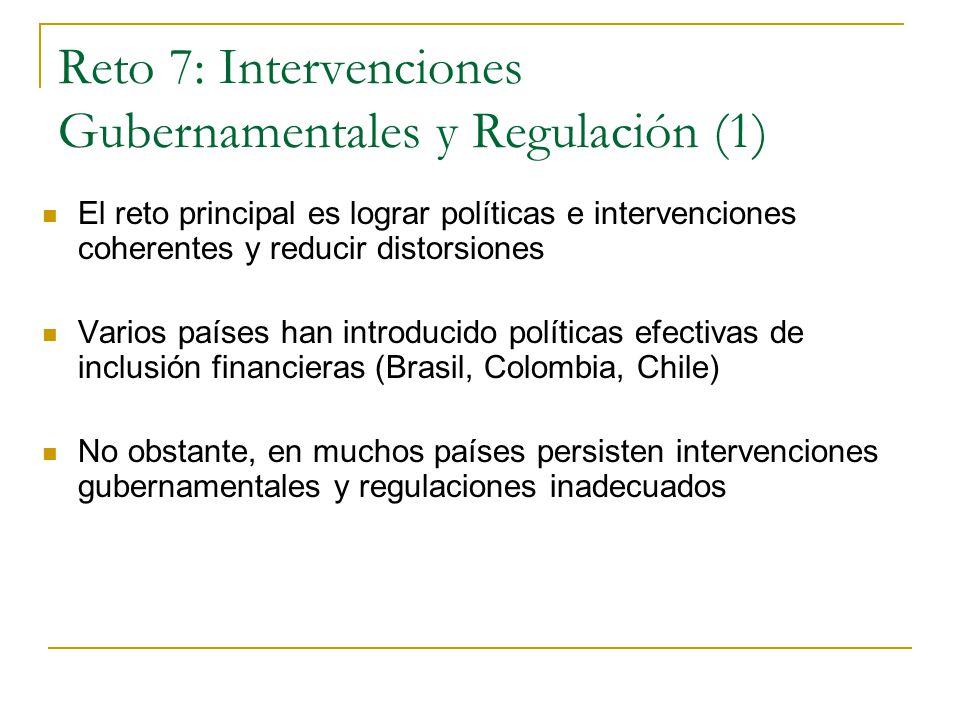 Reto 7: Intervenciones Gubernamentales y Regulación (1) El reto principal es lograr políticas e intervenciones coherentes y reducir distorsiones Varios países han introducido políticas efectivas de inclusión financieras (Brasil, Colombia, Chile) No obstante, en muchos países persisten intervenciones gubernamentales y regulaciones inadecuados