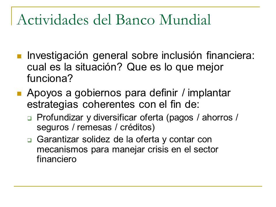 Actividades del Banco Mundial Investigación general sobre inclusión financiera: cual es la situación.