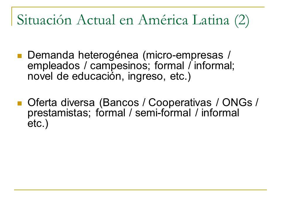 Situación Actual en América Latina (2) Demanda heterogénea (micro-empresas / empleados / campesinos; formal / informal; novel de educación, ingreso, etc.) Oferta diversa (Bancos / Cooperativas / ONGs / prestamistas; formal / semi-formal / informal etc.)