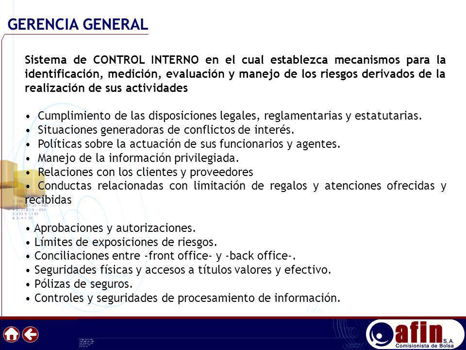 Sistema de CONTROL INTERNO en el cual establezca mecanismos para la identificación, medición, evaluación y manejo de los riesgos derivados de la reali