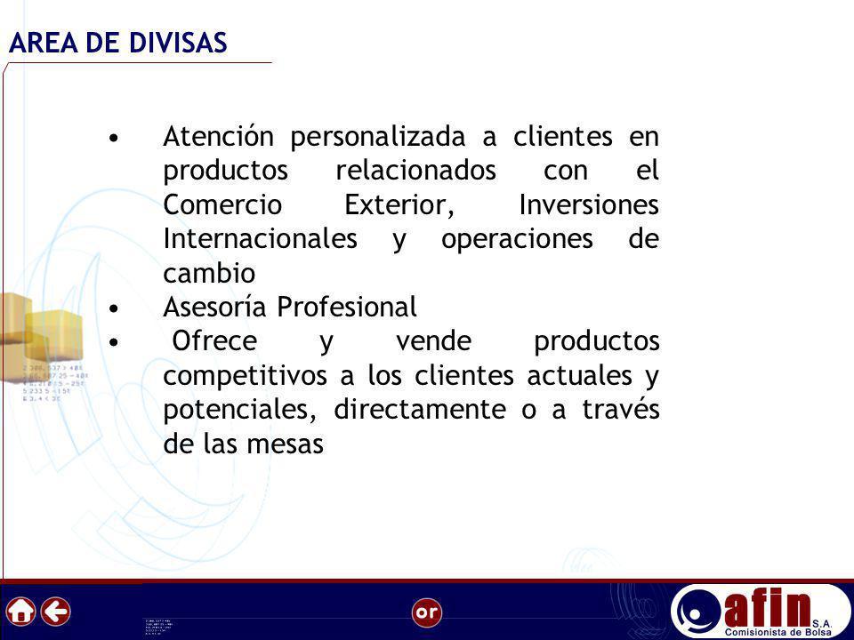 Atención personalizada a clientes en productos relacionados con el Comercio Exterior, Inversiones Internacionales y operaciones de cambio Asesoría Pro