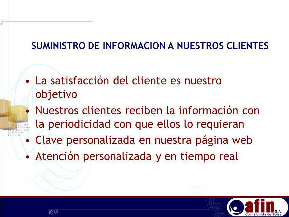 SUMINISTRO DE INFORMACION A NUESTROS CLIENTES La satisfacción del cliente es nuestro objetivo Nuestros clientes reciben la información con la periodic