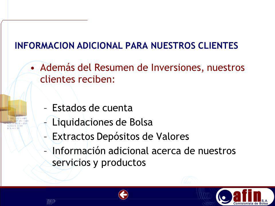 INFORMACION ADICIONAL PARA NUESTROS CLIENTES Además del Resumen de Inversiones, nuestros clientes reciben: –Estados de cuenta –Liquidaciones de Bolsa