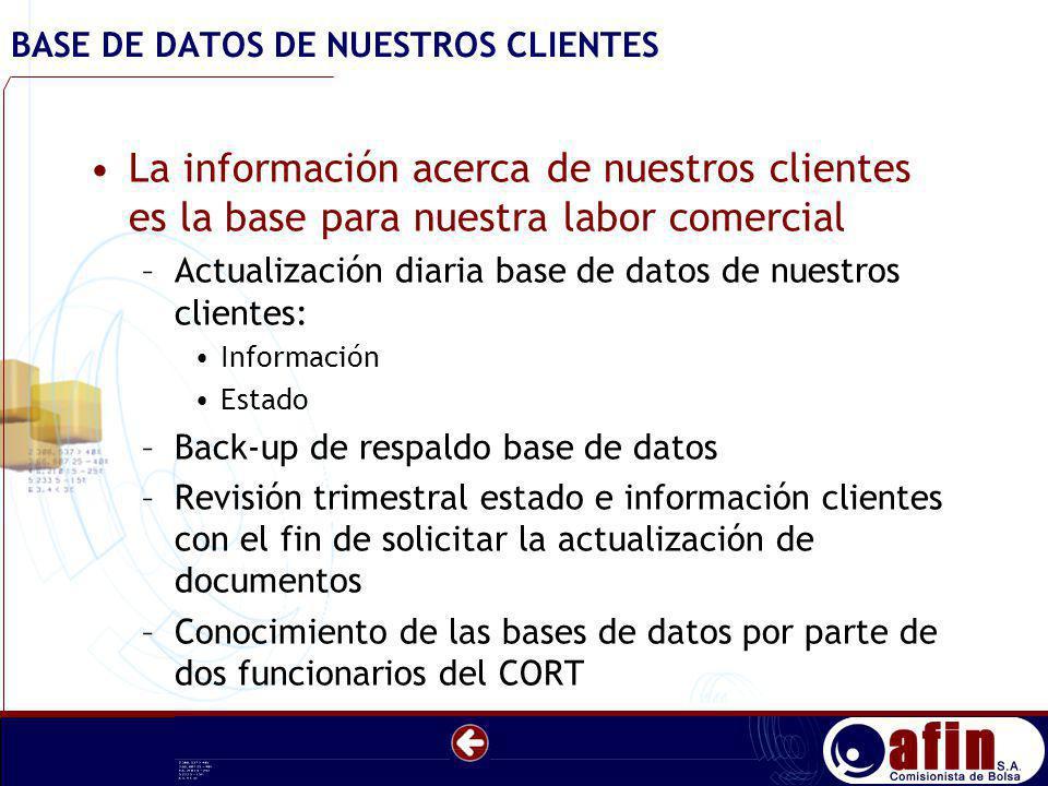 BASE DE DATOS DE NUESTROS CLIENTES La información acerca de nuestros clientes es la base para nuestra labor comercial –Actualización diaria base de da