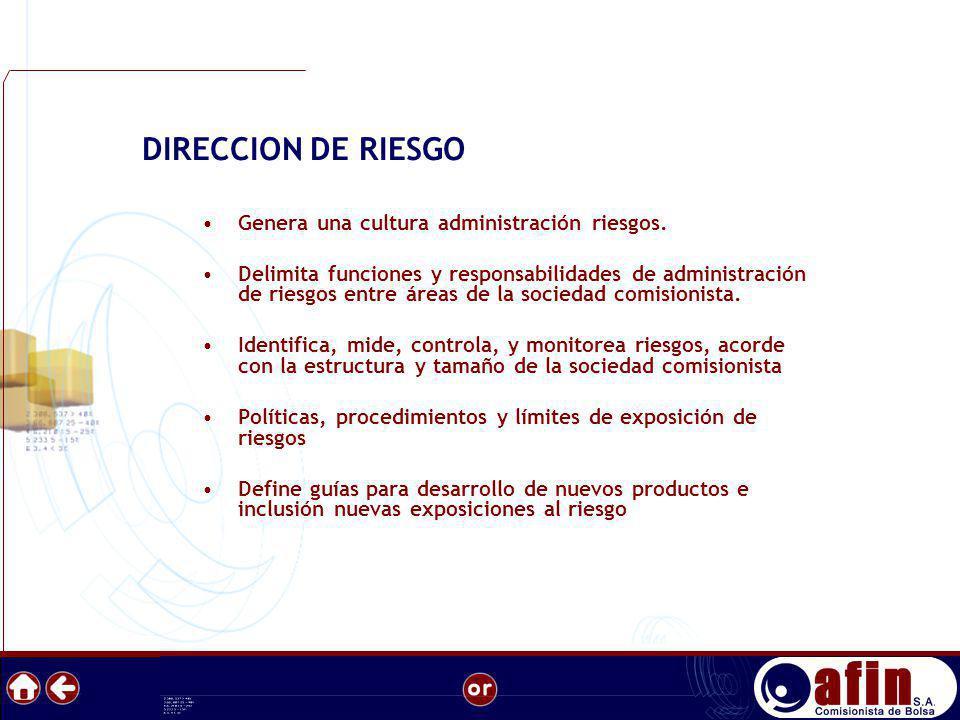 Genera una cultura administración riesgos. Delimita funciones y responsabilidades de administración de riesgos entre áreas de la sociedad comisionista
