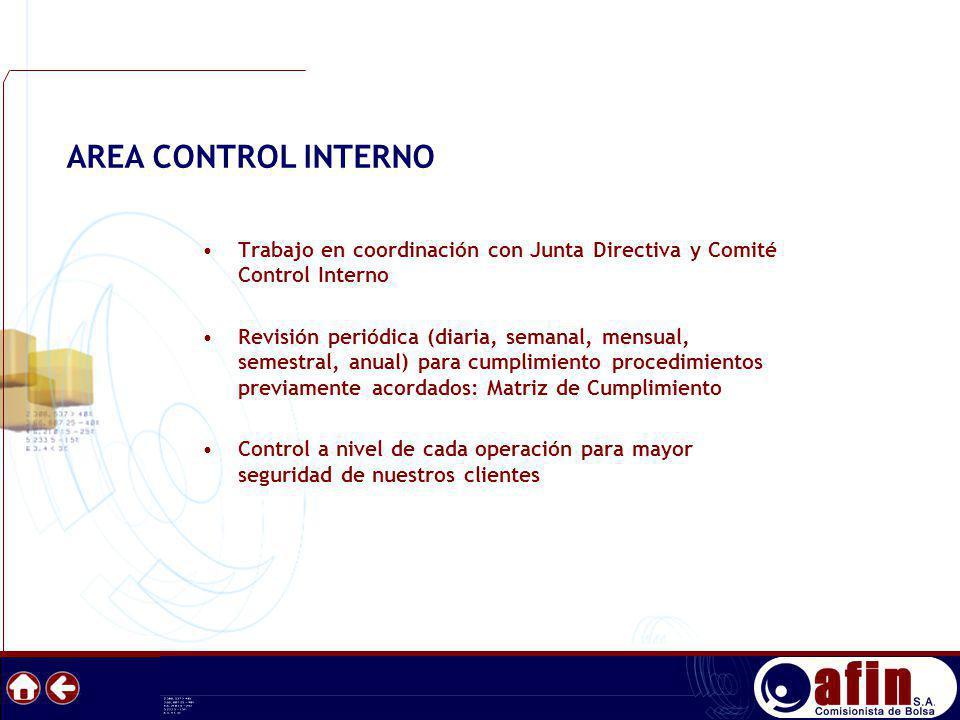 Trabajo en coordinación con Junta Directiva y Comité Control Interno Revisión periódica (diaria, semanal, mensual, semestral, anual) para cumplimiento