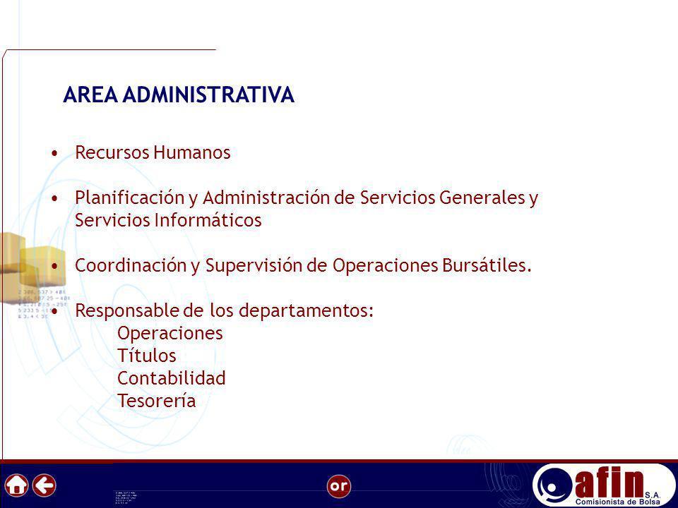 Recursos Humanos Planificación y Administración de Servicios Generales y Servicios Informáticos Coordinación y Supervisión de Operaciones Bursátiles.