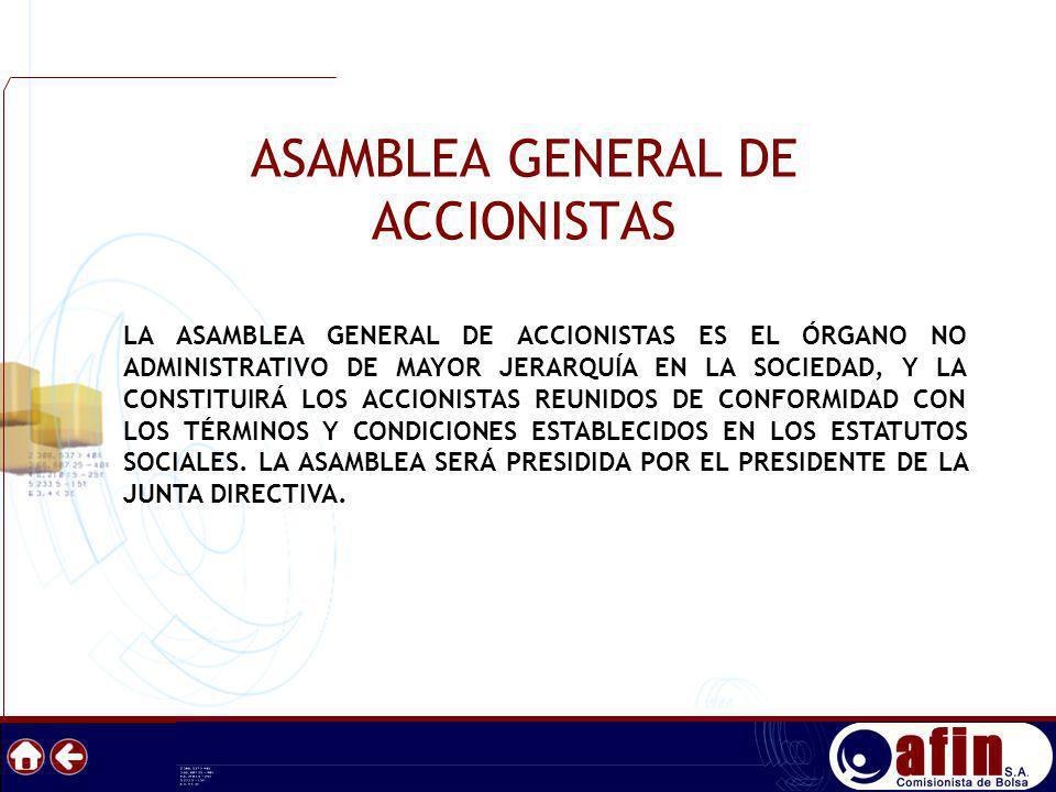 ASAMBLEA GENERAL DE ACCIONISTAS LA ASAMBLEA GENERAL DE ACCIONISTAS ES EL ÓRGANO NO ADMINISTRATIVO DE MAYOR JERARQUÍA EN LA SOCIEDAD, Y LA CONSTITUIRÁ