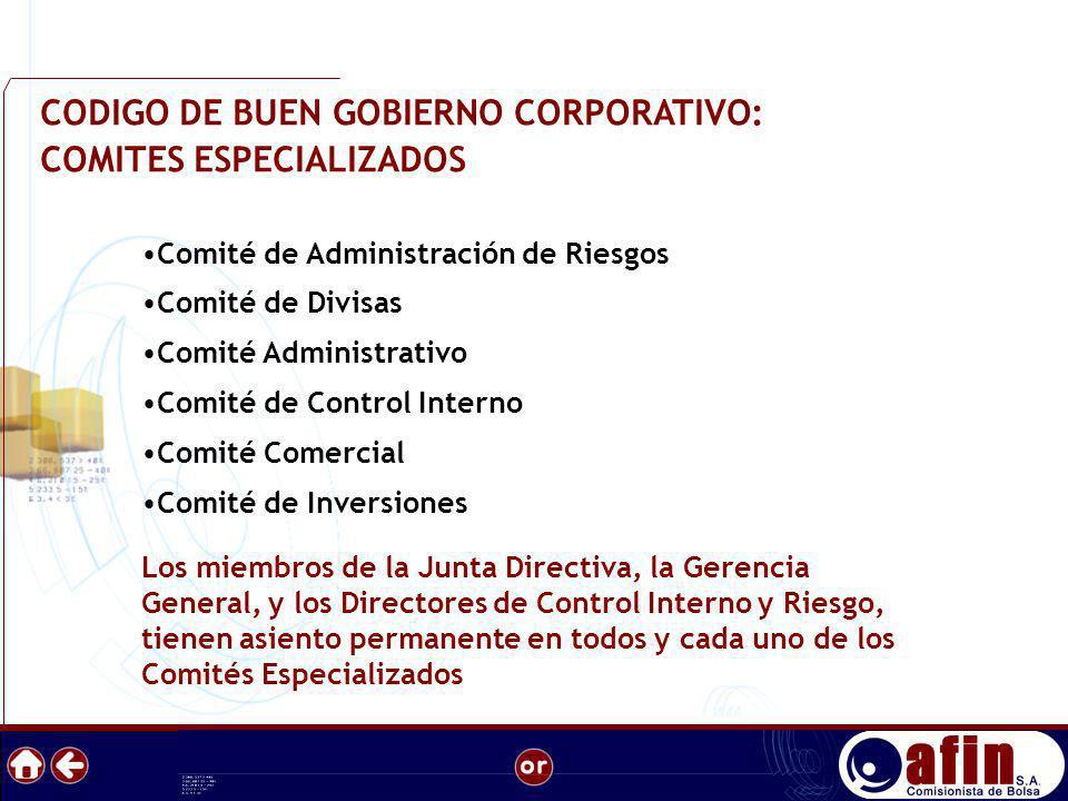CODIGO DE BUEN GOBIERNO CORPORATIVO: COMITES ESPECIALIZADOS Comité de Administración de Riesgos Comité de Divisas Comité Administrativo Comité de Cont