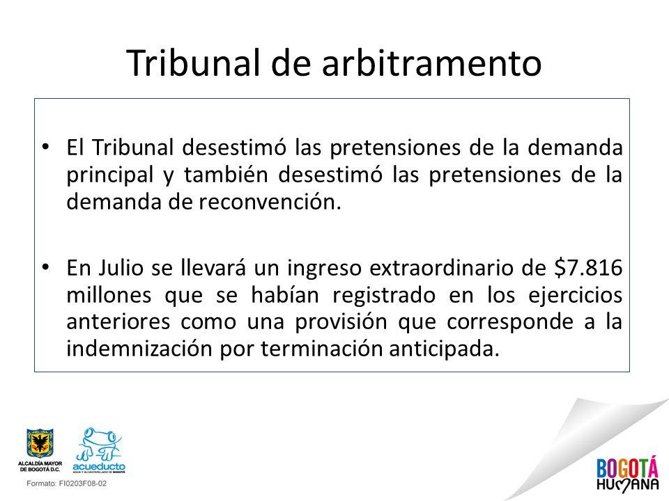 Tribunal de arbitramento El Tribunal desestimó las pretensiones de la demanda principal y también desestimó las pretensiones de la demanda de reconvención.