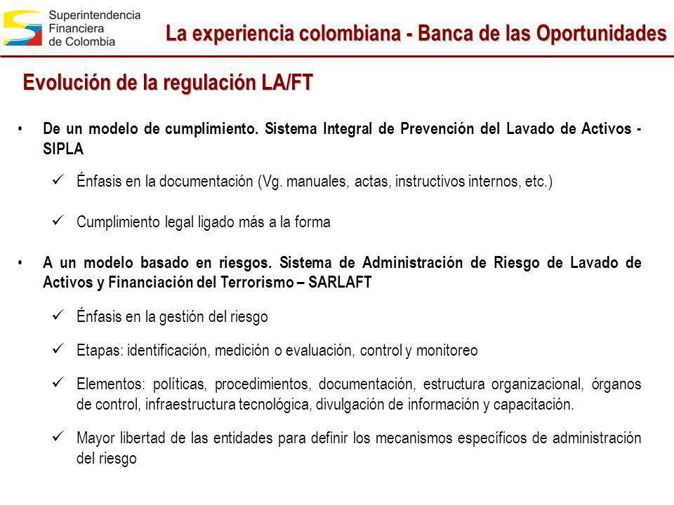 La experiencia colombiana - Banca de las Oportunidades Evolución de la regulación LA/FT De un modelo de cumplimiento. Sistema Integral de Prevención d
