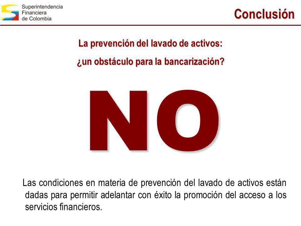 Conclusión Las condiciones en materia de prevención del lavado de activos están dadas para permitir adelantar con éxito la promoción del acceso a los