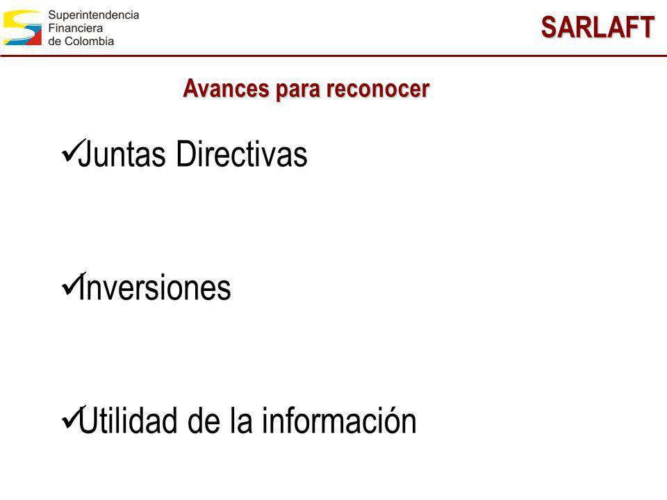 SARLAFT Juntas Directivas Inversiones Utilidad de la información Avances para reconocer