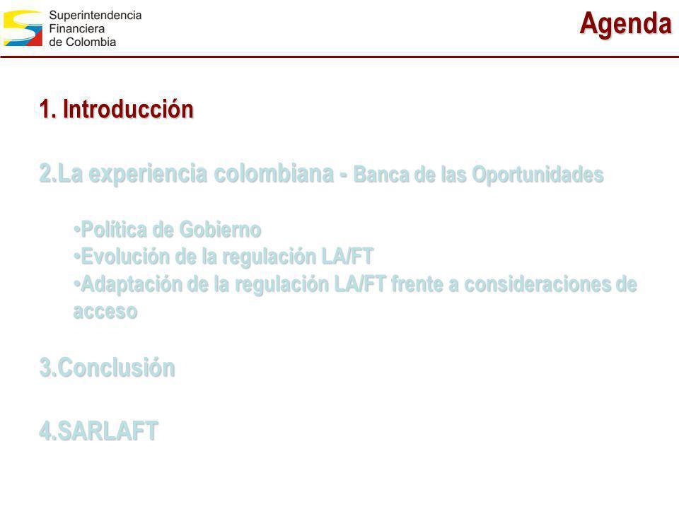 Agenda 1. Introducción 2.La experiencia colombiana - Banca de las Oportunidades Política de Gobierno Política de Gobierno Evolución de la regulación L