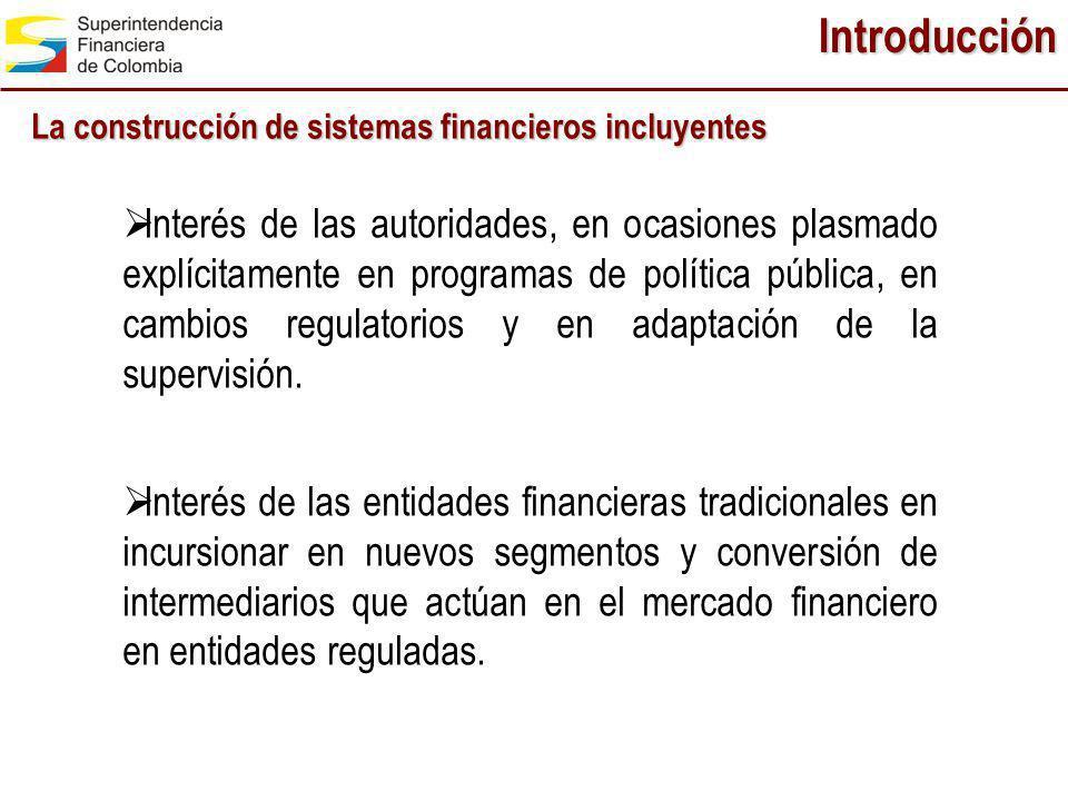 Introducción La construcción de sistemas financieros incluyentes Interés de las autoridades, en ocasiones plasmado explícitamente en programas de polí