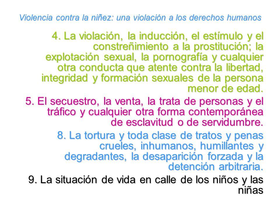 Violencia contra la niñez: una violación a los derechos humanos 4. La violación, la inducción, el estímulo y el constreñimiento a la prostitución; la