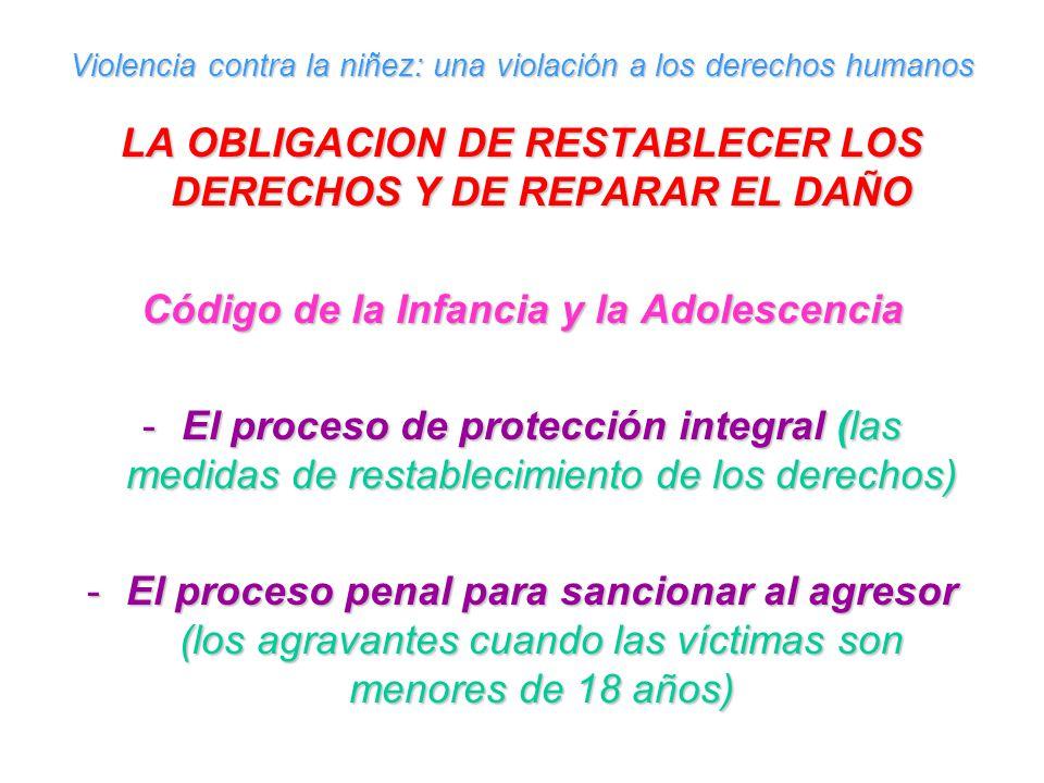 Violencia contra la niñez: una violación a los derechos humanos LA OBLIGACION DE RESTABLECER LOS DERECHOS Y DE REPARAR EL DAÑO Código de la Infancia y