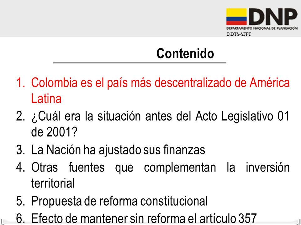 DDTS-SFPT 1.Colombia es el país más descentralizado de América Latina 2.¿Cuál era la situación antes del Acto Legislativo 01 de 2001? 3.La Nación ha a