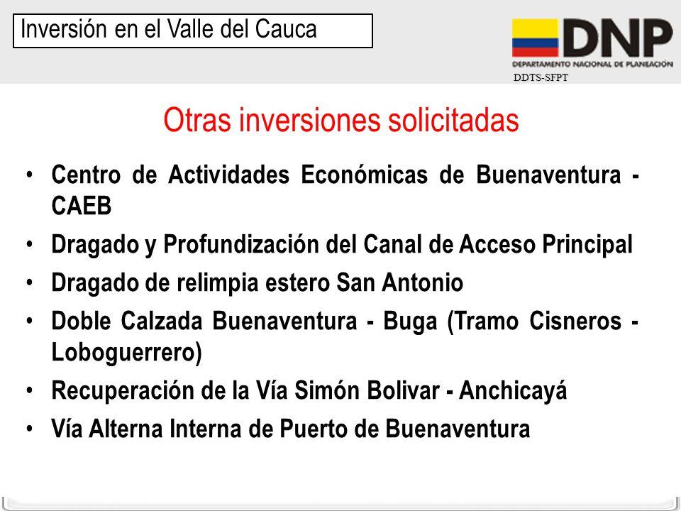 DDTS-SFPT Inversión en el Valle del Cauca Centro de Actividades Económicas de Buenaventura - CAEB Dragado y Profundización del Canal de Acceso Princip