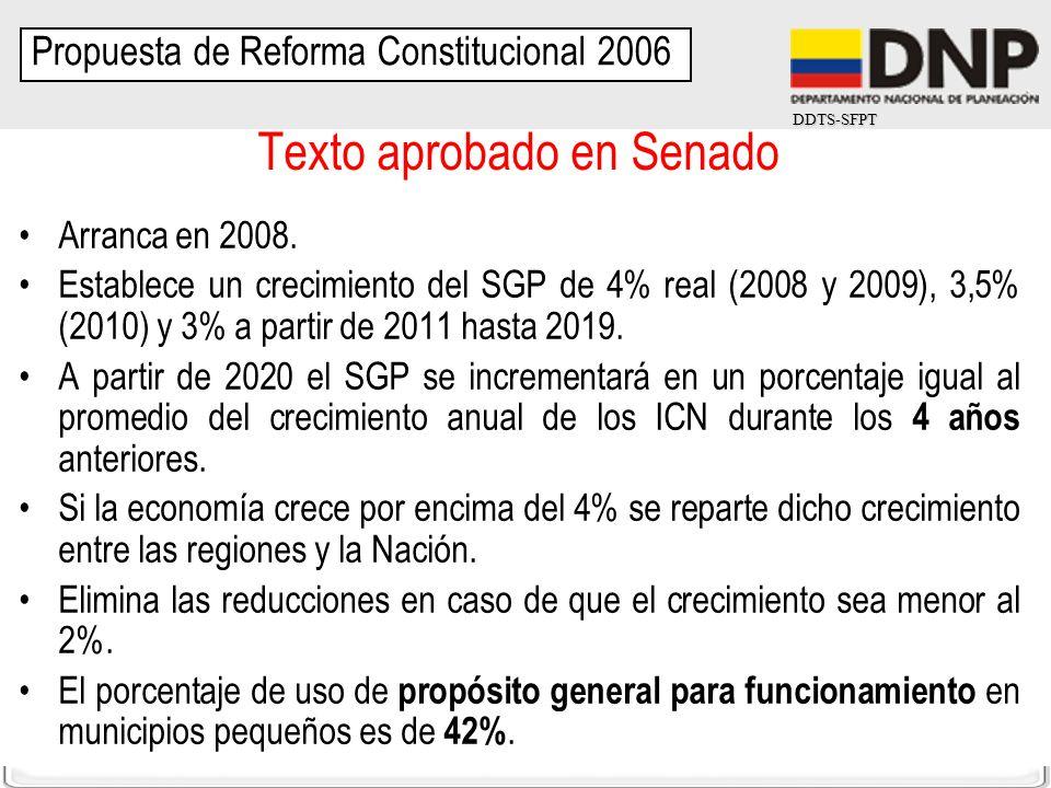 DDTS-SFPT Texto aprobado en Senado Arranca en 2008. Establece un crecimiento del SGP de 4% real (2008 y 2009), 3,5% (2010) y 3% a partir de 2011 hasta