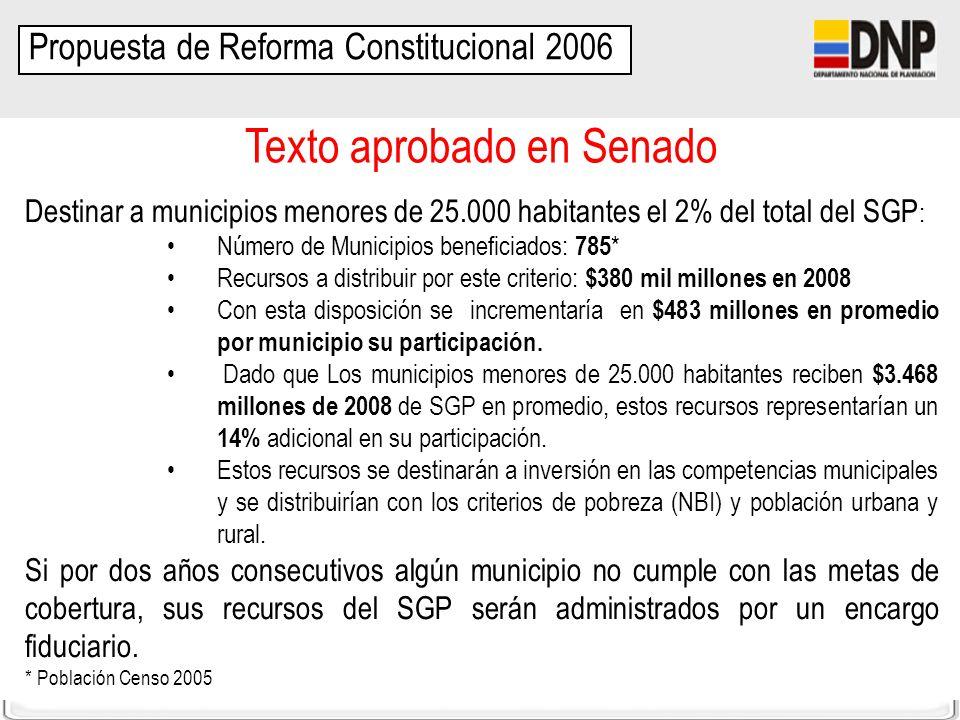 DDTS-SFPT Destinar a municipios menores de 25.000 habitantes el 2% del total del SGP : Número de Municipios beneficiados: 785 * Recursos a distribuir
