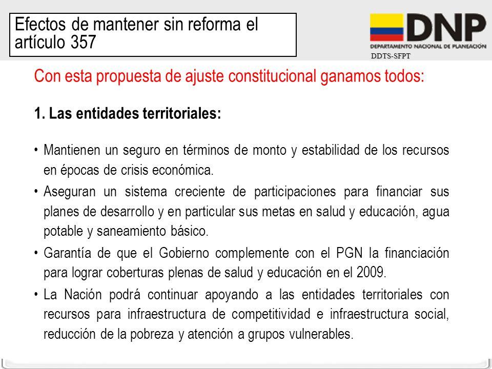 DDTS-SFPT Con esta propuesta de ajuste constitucional ganamos todos: 1. Las entidades territoriales: Mantienen un seguro en términos de monto y estabi