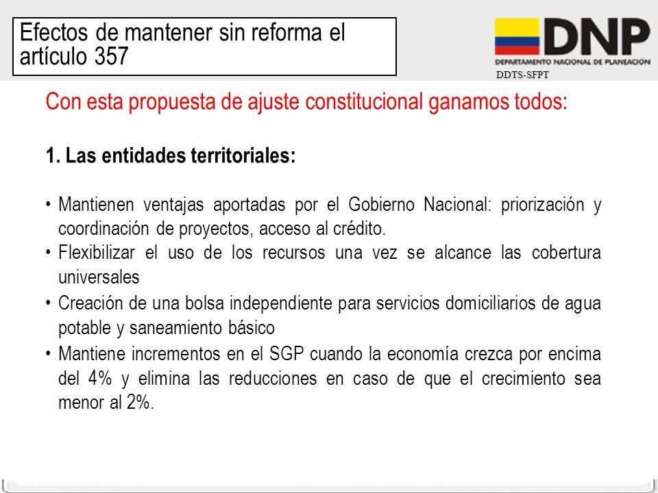 DDTS-SFPT Con esta propuesta de ajuste constitucional ganamos todos: 1. Las entidades territoriales: Mantienen ventajas aportadas por el Gobierno Naci