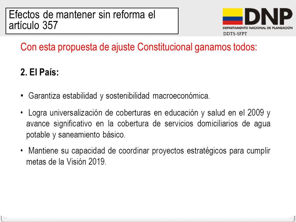 DDTS-SFPT Con esta propuesta de ajuste Constitucional ganamos todos: 2. El País: Garantiza estabilidad y sostenibilidad macroeconómica. Logra universa