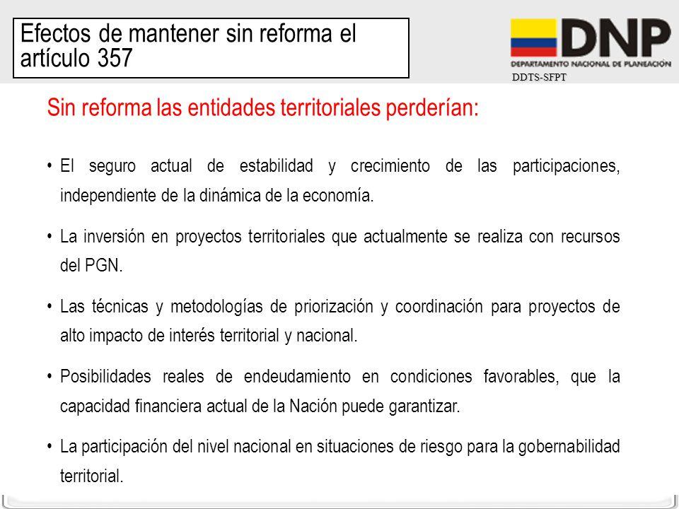 DDTS-SFPT Sin reforma las entidades territoriales perderían: El seguro actual de estabilidad y crecimiento de las participaciones, independiente de la