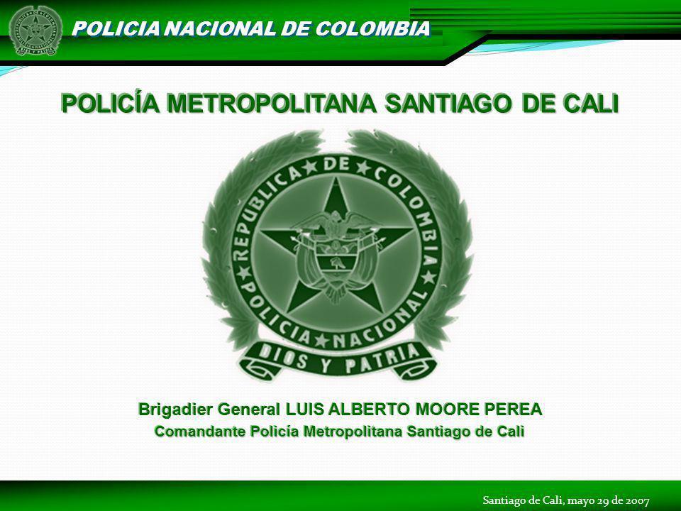 POLICIA NACIONAL DE COLOMBIA POLICÍA METROPOLITANA SANTIAGO DE CALI Brigadier General LUIS ALBERTO MOORE PEREA Comandante Policía Metropolitana Santia
