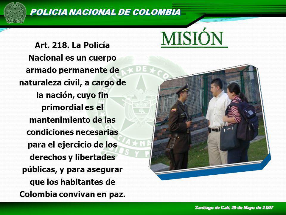 POLICIA NACIONAL DE COLOMBIA Art. 218. La Policía Nacional es un cuerpo armado permanente de naturaleza civil, a cargo de la nación, cuyo fin primordi