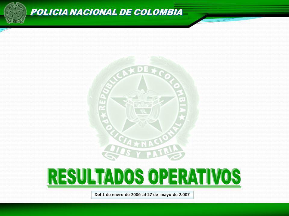 POLICIA NACIONAL DE COLOMBIA Del 1 de enero de 2006 al 27 de mayo de 2.007