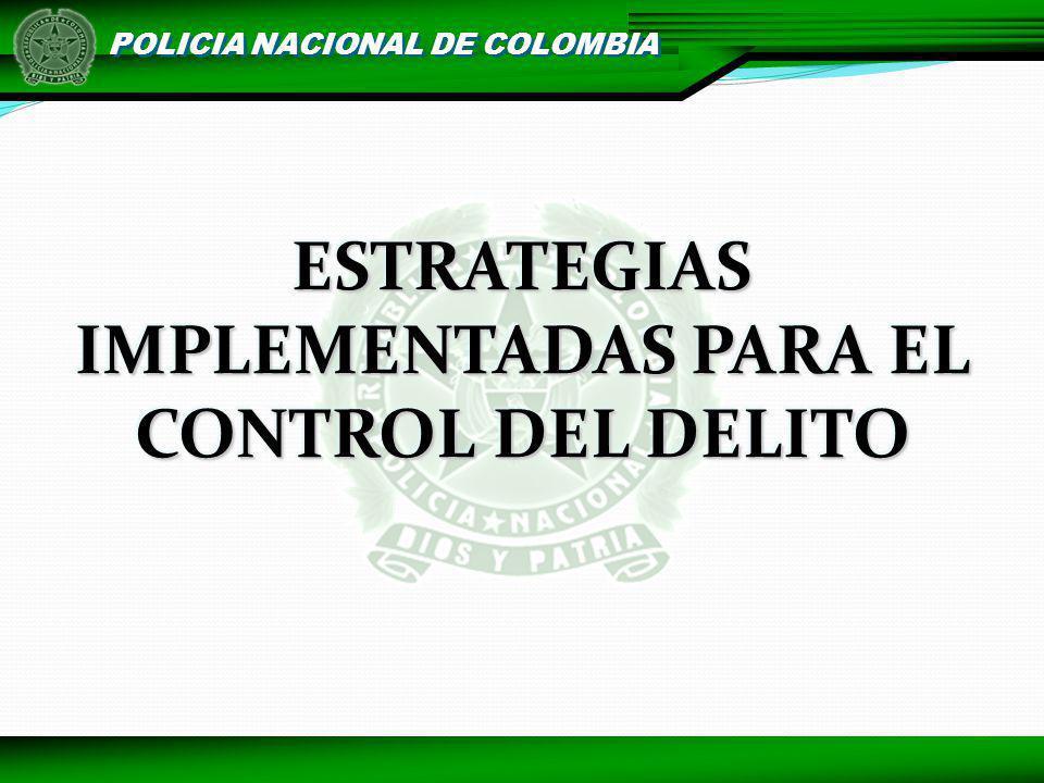 POLICIA NACIONAL DE COLOMBIA DELITOS QUE AFECTAN LA SEGURIDAD DEMOCRÁTICA 2006852 2007908 6% Fuente: CIC MECAL - PONAL Del 1 de enero de 2006 al 27 de mayo de 2.007