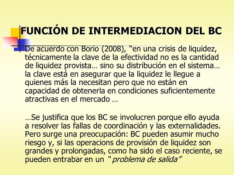 FUNCIÓN DE INTERMEDIACION DEL BC De acuerdo con Borio (2008), en una crisis de liquidez, técnicamente la clave de la efectividad no es la cantidad de