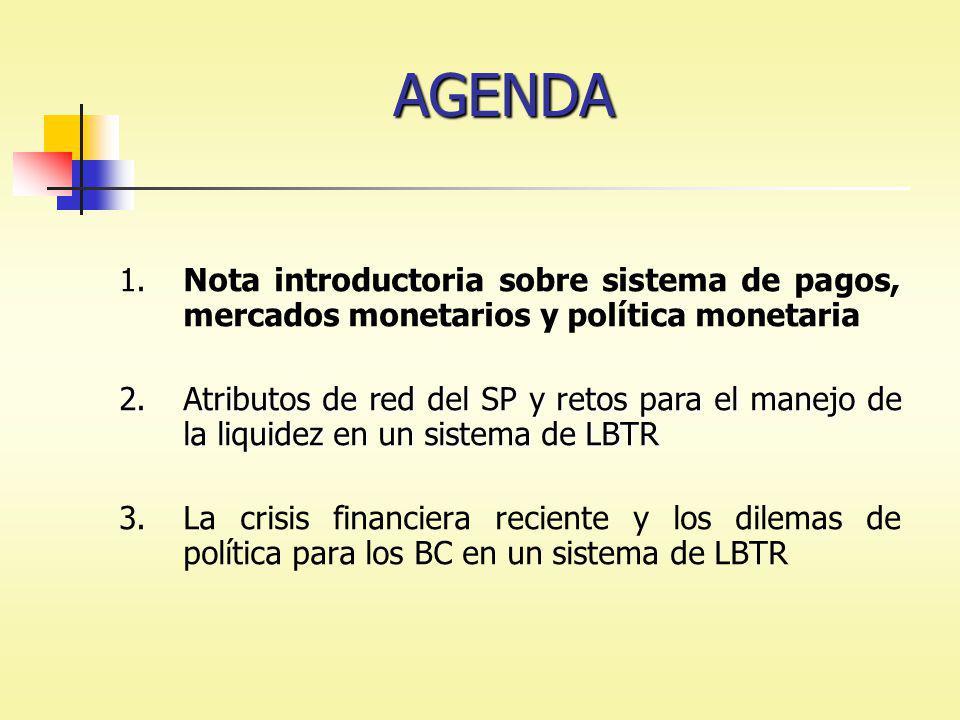 1.Nota introductoria sobre sistema de pagos, mercados monetarios y política monetaria 2.Atributos de red del SP y retos para el manejo de la liquidez en un sistema de LBTR 3.La crisis financiera reciente y los dilemas de política para los BC en un sistema de LBTR AGENDA