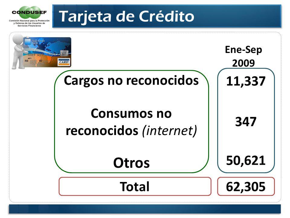 Tarjeta de Crédito Cargos no reconocidos Consumos no reconocidos (internet) Otros 11,337 347 50,621 Ene-Sep 2009 Total62,305