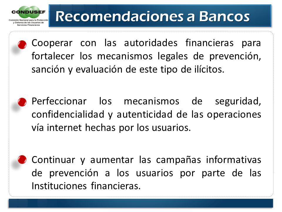 Recomendaciones a Bancos Recomendaciones a Bancos Cooperar con las autoridades financieras para fortalecer los mecanismos legales de prevención, sanci