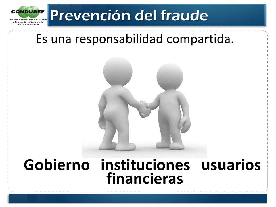 Prevención del fraude Prevención del fraude Es una responsabilidad compartida. Gobierno instituciones usuarios financieras