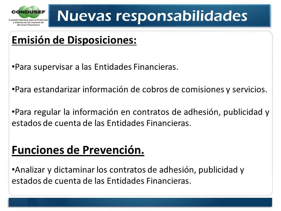 Nuevas responsabilidades Emisión de Disposiciones: Para supervisar a las Entidades Financieras. Para estandarizar información de cobros de comisiones