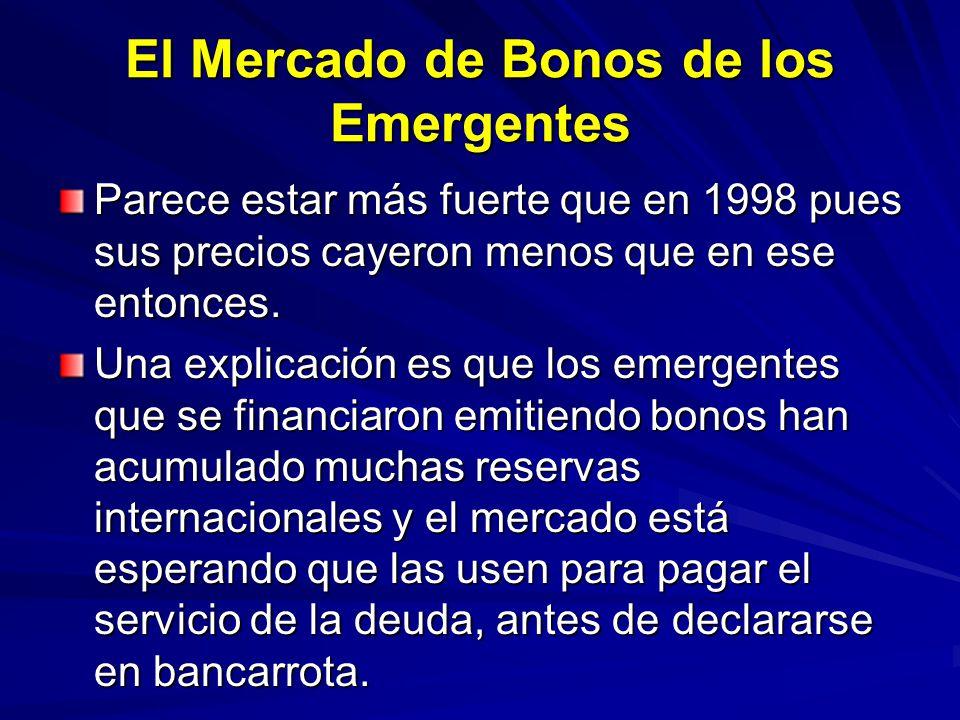 El Mercado de Bonos de los Emergentes Parece estar más fuerte que en 1998 pues sus precios cayeron menos que en ese entonces. Una explicación es que l