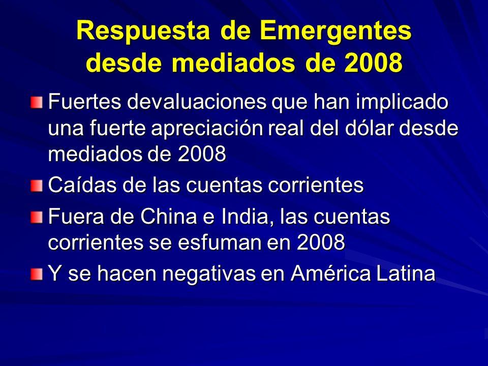 Respuesta de Emergentes desde mediados de 2008 Fuertes devaluaciones que han implicado una fuerte apreciación real del dólar desde mediados de 2008 Ca